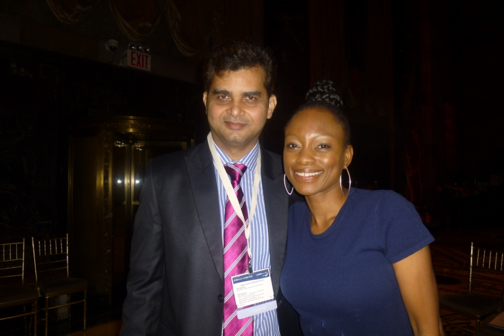 tameem m with al jazeera journalist  femi oke at united nations in new york