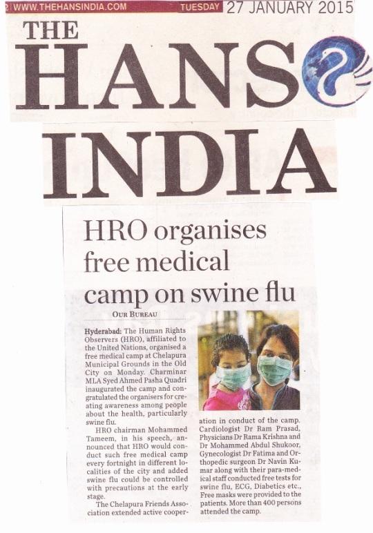 M Tameem Chairman hro  organised swine flu awareness medical camp, hans india news